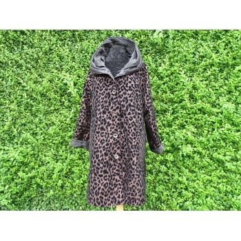 Reversible Coat Black  bronze leopard/black