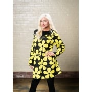 Reversible Coat Black yellow daisy/black