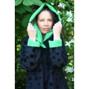 Reversible Coat Black flock dot/green