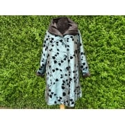 Reversible Coat Teal black leaves/black