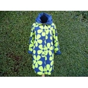 Reversible Coat  Navy lime daisy/navy