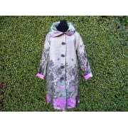 Reversible Coat Taupe Pink poppies